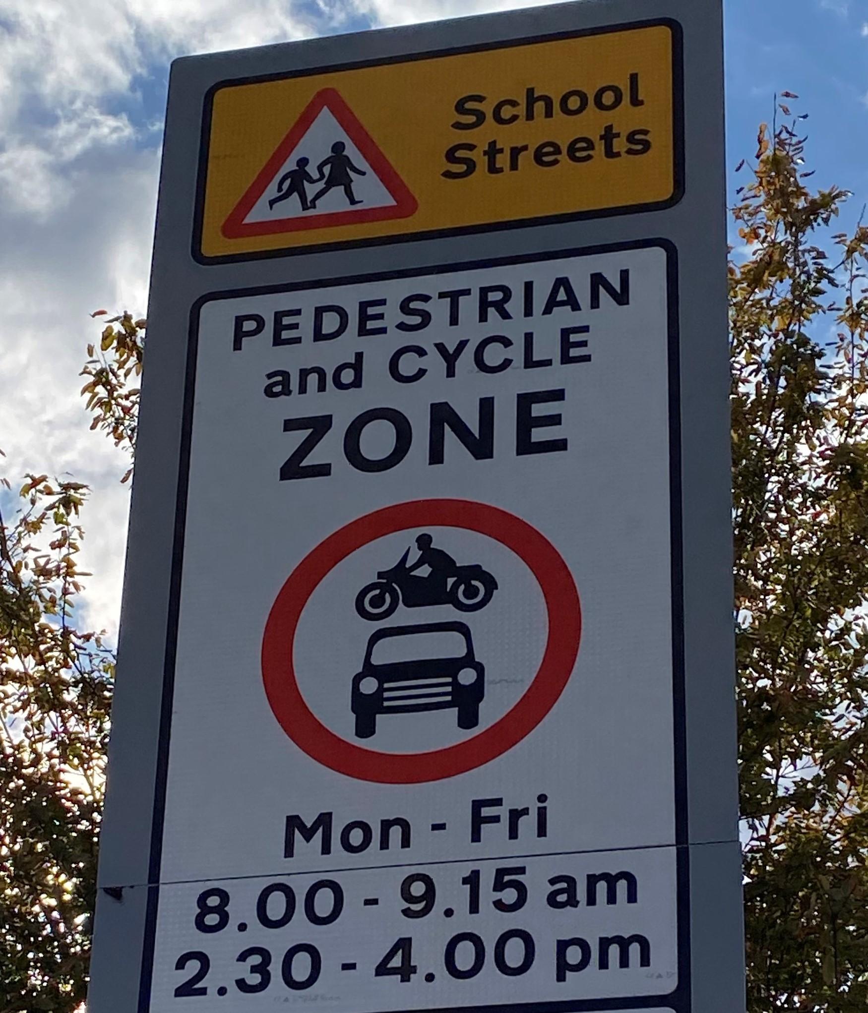 School Streets road sign   School Streets Initiative